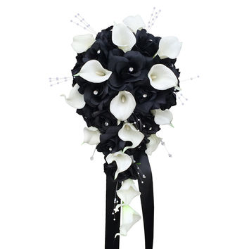 Elegant Teardrop Bouquet - Black Roses, White Calla Lilies, and Pearl Beads Cascade bouquet