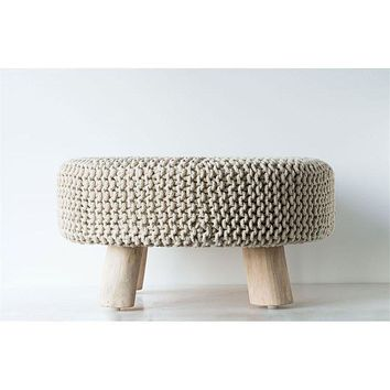 Neutral Wood and Cotton Knot Round Ottoman Stool -- 25-in