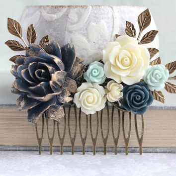 Big Rose Comb Navy and Mint Wedding Bridal Hair Comb Ivory Cream Vintage Inspired Gold Branch Bridesmaids Gift Ruffle Cabbage Rose Comb