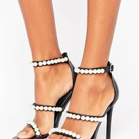 Missguided Pearl Strap Barley There Heeled Sandal at asos.com