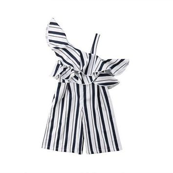 Kids Girl Clothing Striped Romper Jumpsuit One Shoulder Ruffle Long Pants Kids Outfit Clothes Fashion Girls 3-10T
