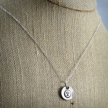 Small Monogram Paisley Pendant - Fine Silver Initial Necklace - Typewriter Key Jewelry - Double Sided Pendant - Gift for Her Bridesmaid Gift