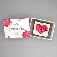 You complete me, matchbox card, love mail, love card, puzzle card, matchbox art, message box, perfect piece, boyfriend girlfriend gift