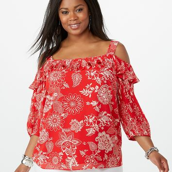 Plus Size Ruffled Pleated Top | dressbarn