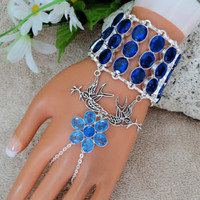 Sapphire Hand Chain, Slave Bracelet, Infinity Ring, Hand Harness, Wristlet, Custom Size, Silver