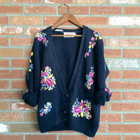 vintage floral embroidered cardigan sweater