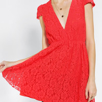 Reverse Deep-V Lace Fit & Flare Dress - Urban Outfitters