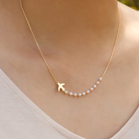 airplane necklace. gold everyday necklace. tiny small petite dainty minimalist charm jewelry. no59