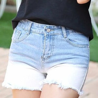 Super Cute Bleached Fade High Waisted Cool Denim Shorts!