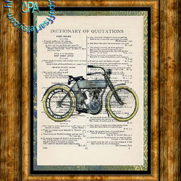 1910 Silver Blue Harley Motorcycle - HDR & Graphic Art - 2 Print Special - Vintage Dictionary Page Art Print Upcycled Page Print