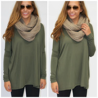Galloway Army Green Piko Long Sleeve Top