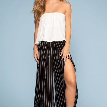 Shoreline Striped High Waist Culottes