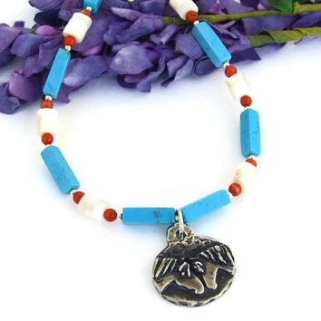 Horse Friends Handmade Necklace, Turquoise Magnesite Mother of Pearl Red Coral Gemstone Jewelry