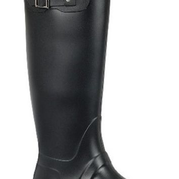 Valentina-02 Women Knee High Wellies Rubber Galoshes Rain Pull On Boot Black