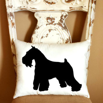 Schnauzer Dog Silhouette Throw Pillow, Decorative Pillow, Home Decor, Pets, Dog Pillow, Dorm Decor **FREE SHIPPING**