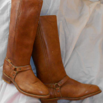 Vintage 90s Double H Leather Boots Ladies Size 6 Unworn Condition.