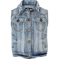 Girls light denim embellished collar gilet