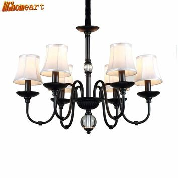 HGHomeart Retro Iron Chandelier LED Luster Suspension Classic Chandeliers  on The Ceiling Living Room Home Lighting 110V/240V