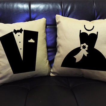 Couples Throw Pillow cover,Mr and Mrs,Wedding gift, Couples gift, Family pillow cover cotton canvas pillow cover set