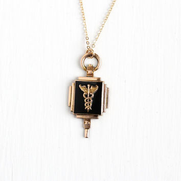 Vintage 10k Gold Filled Caduceus Pendant Necklace - Dated 1940 WWII Black Glass Medicine Medical Symbol Award Fob Snake Staff Jewelry