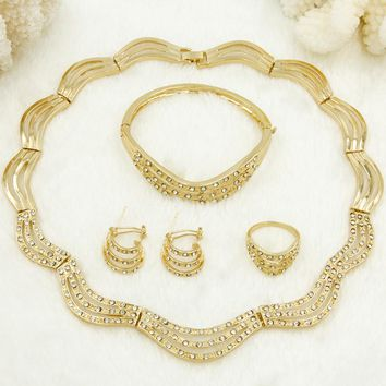 Gift Set Crystal Design Necklace Gold Jewelry Dubai