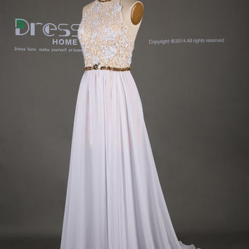 White Champagne Halter Gold Beading A Line Lace Prom Dress/Sexy Long Wedding Dress/Engagement Party Dress/Lace Long Prom Dress DH317