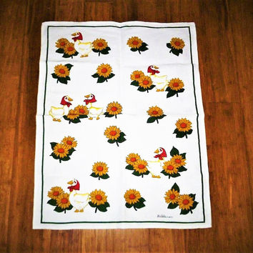 "Vintage 1980s German Made ""Halbleinen"" Tea Towel Featuring Geese and Sunflowers / Signed Retro Tea Towel / Pure Linen"