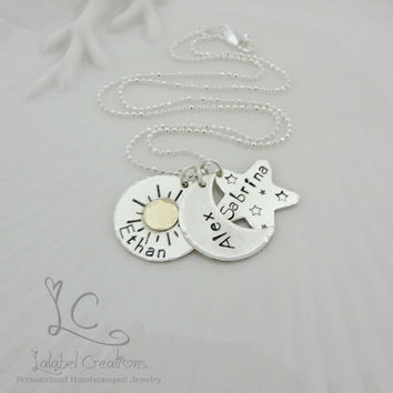 Sun Moon Star Hand Stamped Necklace, Sterling Silver Mommy Jewelry, Personalized Kids Names Necklace, Mother's Day Gifts, Personalized Gifts