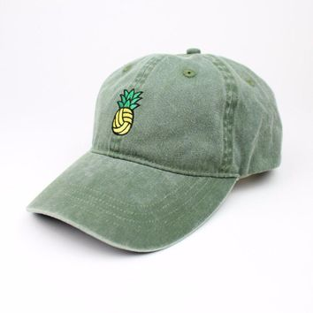 Pineapple Water Polo Dad Hat - Vintage Wash Olive