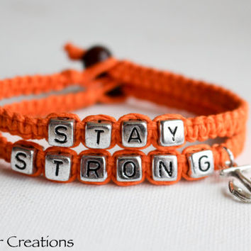 Bright Orange Stay Strong Bracelet Set, Anchor Charm Jewelry, Macrame Hemp Accessory, Recovery, Gift for Her