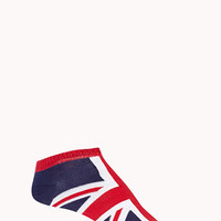 FOREVER 21 British Flag Ankle Socks Navy/Red One