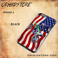 Motocross America US FlagSnap on Black White and 3D Iphone 6 Case