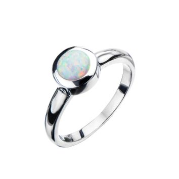 Stainless Steel & Synthetic White Opal Ring
