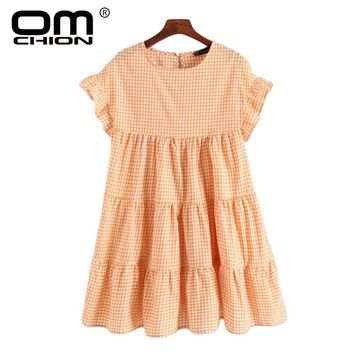 O Neck Butterfly Sleeve Summer Dress A-Line Vintage Plaid Ruffles Casual Women Dresses