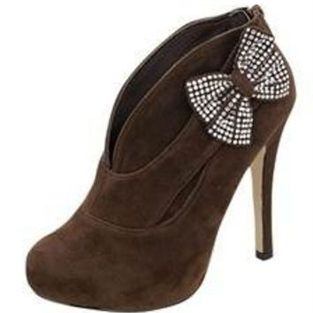 NEW WOMENS ANKLE BOOT Booties SUEDE HEELS W/ Rhinestone BOW Brown