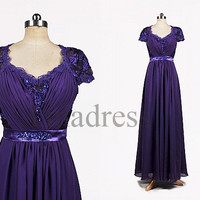 Custom Short Sleeves Purple Lace Applique Beaded Long Prom Dresses Bridesmaid Dresses Evening Dresses Fashion Party Dresses Evening Gowns