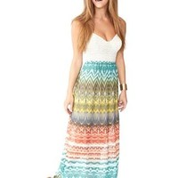 CROCHET BODICE TRIBAL PRINT MAXI DRESS