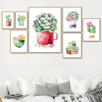 Watercolor Cactus Succulent Plant Wall Art Canvas Painting Posters And Prints Nordic Poster Wall Pictures For Living Room Decor