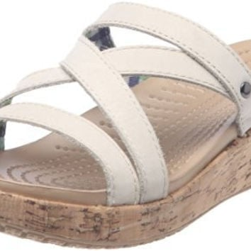 Crocs Women's A-Leigh Mini Wedge Sandal,Stucco,8 M US