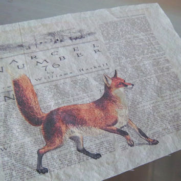 Vintage red fox fabric panel handmade cotton sewing supply reproduction woodland fox scrapbooking art journal cotton decoration home decor