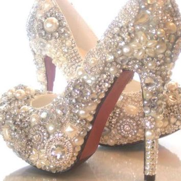 ac spbest Cinderellas Wish... crystal, glass and pearl covered high heels. Wedding bespoke custom design