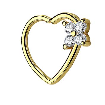 BodyJ4You 16G (1.2mm) Daith Piercing Clear CZ Square Heart Goldtone Helix Earring Cartilage Hoop Piercing