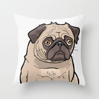 Fat Pug Throw Pillow by BinaryGod.com