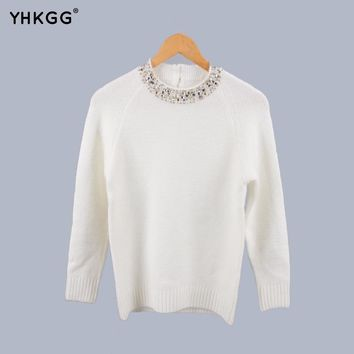 YHKGG 2017 Winter  knitted sweater Korean women beading on the neck-shaped solid loose-fitting ladies cashmere sweater pullover