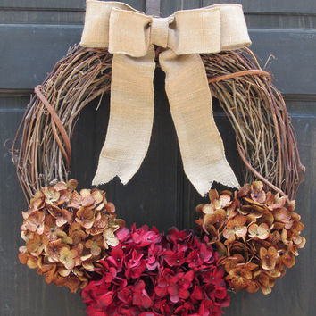 Red / Brown Hydrangea Grapevine Wreath