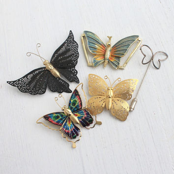 Vintage Butterfly Pins - Lot of 5 Colorful Figural Insect Brooches, Belt Buckle, Jewelry / Vibrant Wings