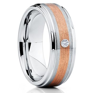 White Diamond Tungsten Ring - Rose Gold - Men's Wedding Band - 8mm