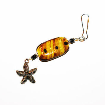 Beaded Keychain with Yellow Accents and Silver Starfish Charm