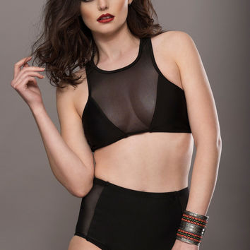 BLACK HIGH WAIST BIKINI SET WITH MESH DETAILS | Get Go Retro