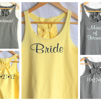 Bridal Party  Set with Wedding Date - 5 Shirts